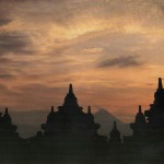 Stupas at Borobodour, Java g